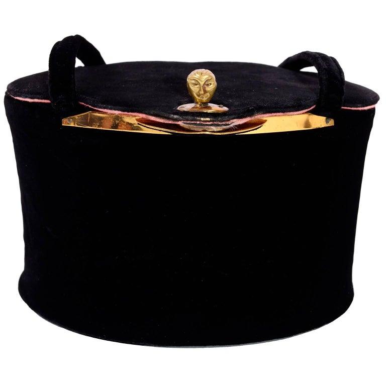 1940s Rare Collapsible Koret Vintage handbag in Black Velvet w Unique Face Clasp