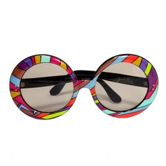 Emilio Pucci Vintage Oversized Round Colorful Print Sunglasses