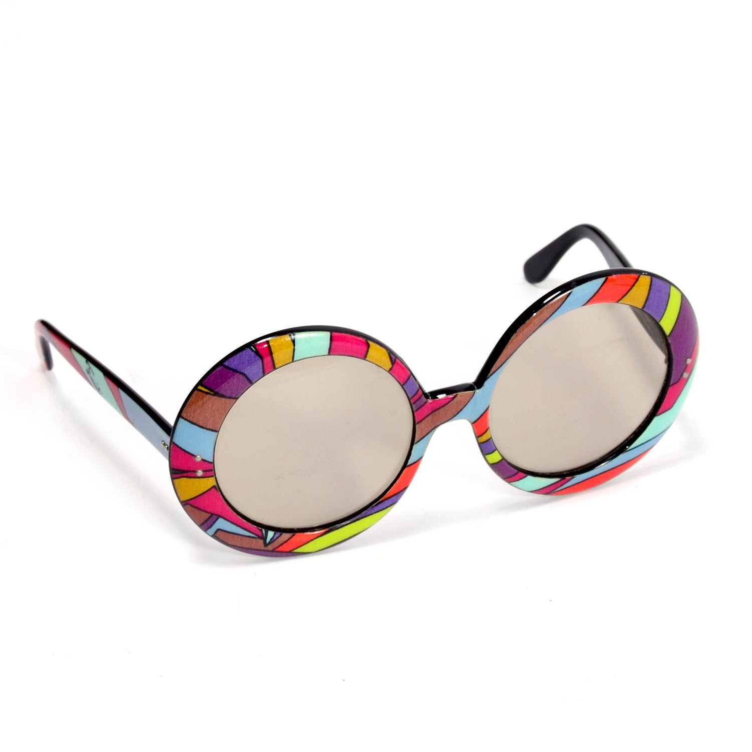 defa972ad85cc Emilio Pucci Vintage Oversized Round Colorful Print Sunglasses at 1stdibs