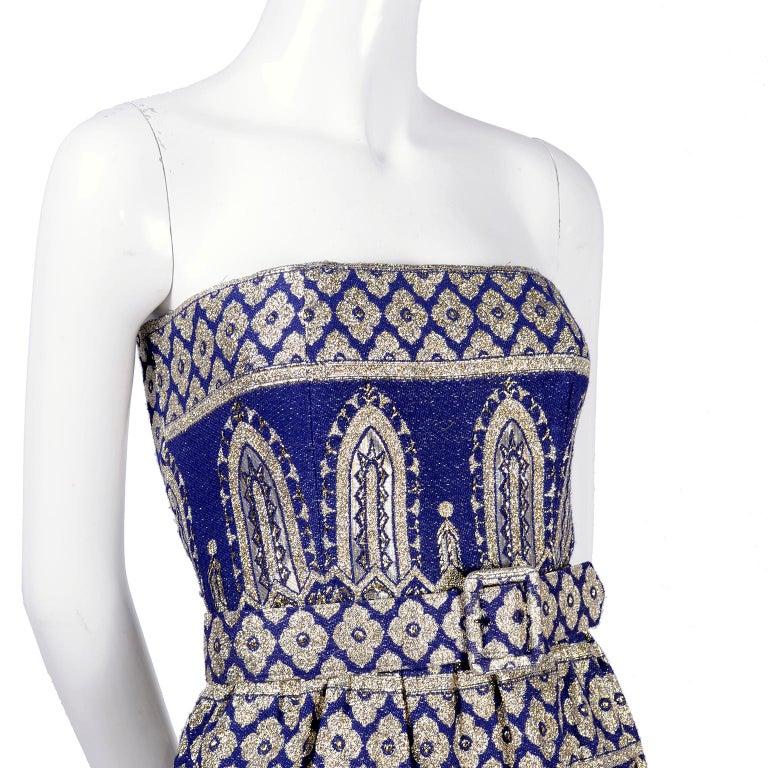 Gray Oscar de la Renta Vintage Dress & Jacket in Royal Blue & Silver Metallic Brocade For Sale