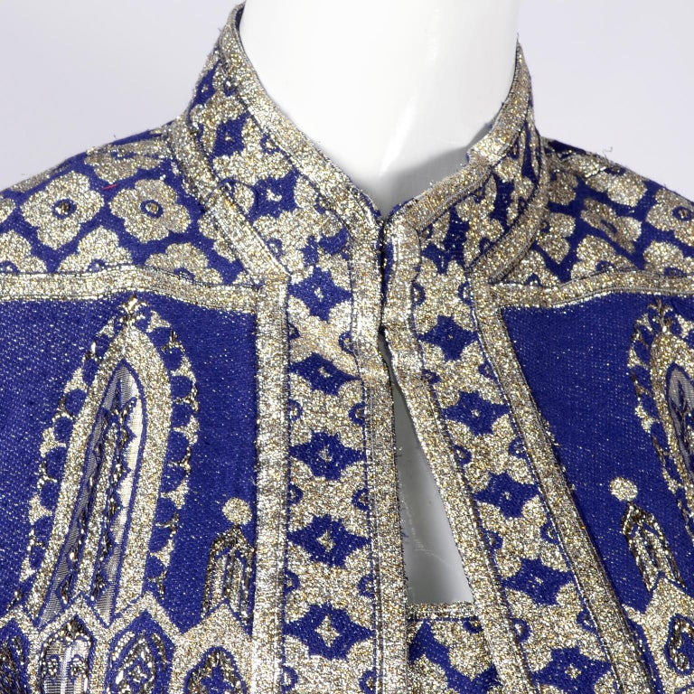 Oscar de la Renta Vintage Dress & Jacket in Royal Blue & Silver Metallic Brocade In Excellent Condition In Portland, OR
