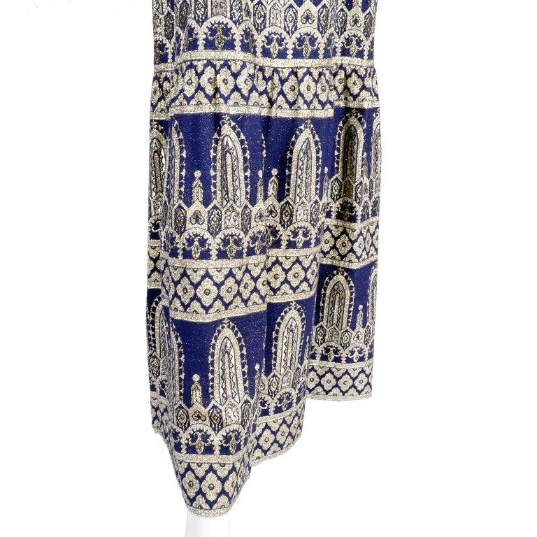 Women's Oscar de la Renta Vintage Dress & Jacket in Royal Blue & Silver Metallic Brocade