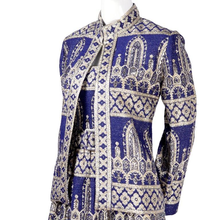 Oscar de la Renta Vintage Dress & Jacket in Royal Blue & Silver Metallic Brocade For Sale 1