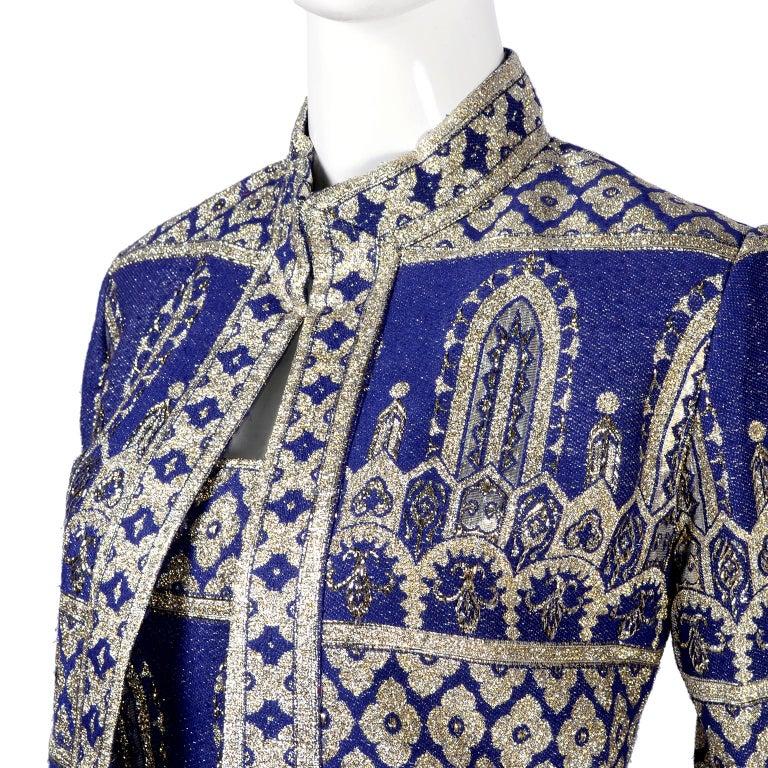 Oscar de la Renta Vintage Dress & Jacket in Royal Blue & Silver Metallic Brocade For Sale 8