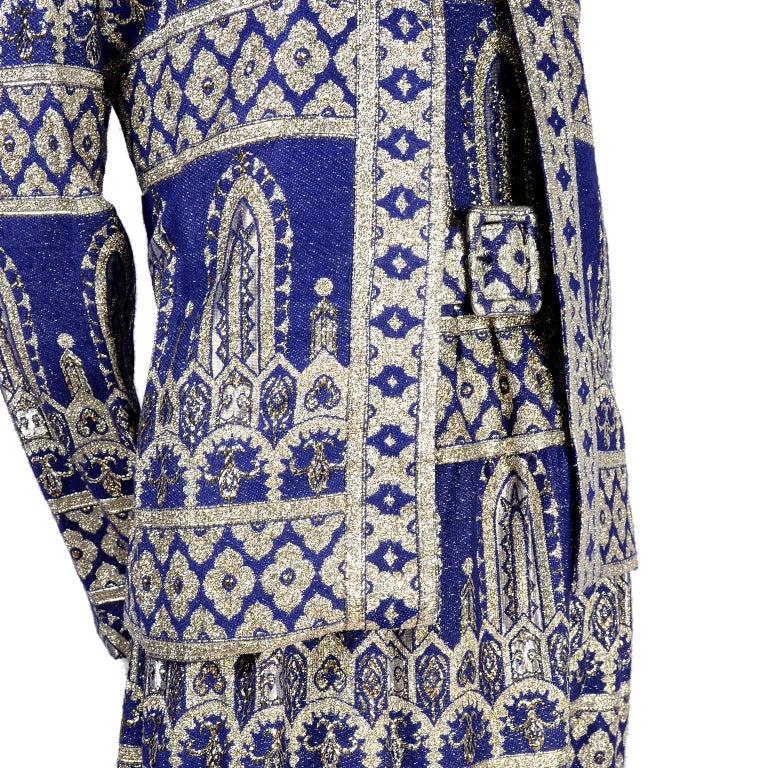 Oscar de la Renta Vintage Dress & Jacket in Royal Blue & Silver Metallic Brocade For Sale 2