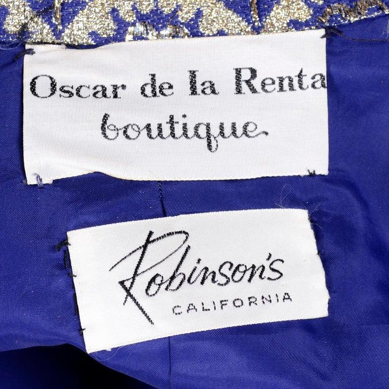 Oscar de la Renta Vintage Dress & Jacket in Royal Blue & Silver Metallic Brocade For Sale 9