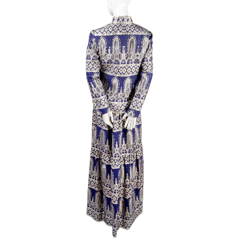 Oscar de la Renta Vintage Dress & Jacket in Royal Blue & Silver Metallic Brocade For Sale 4