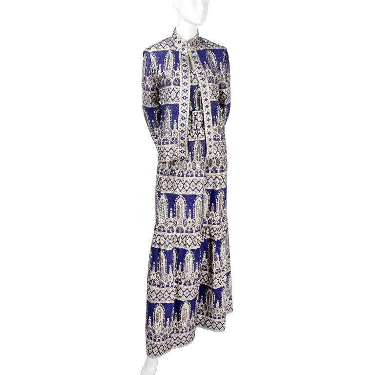 Oscar de la Renta Vintage Dress & Jacket in Royal Blue & Silver Metallic Brocade For Sale 5