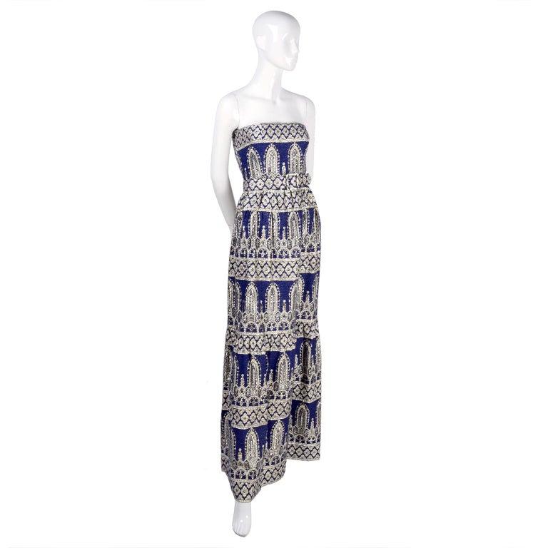 Oscar de la Renta Vintage Dress & Jacket in Royal Blue & Silver Metallic Brocade For Sale 6