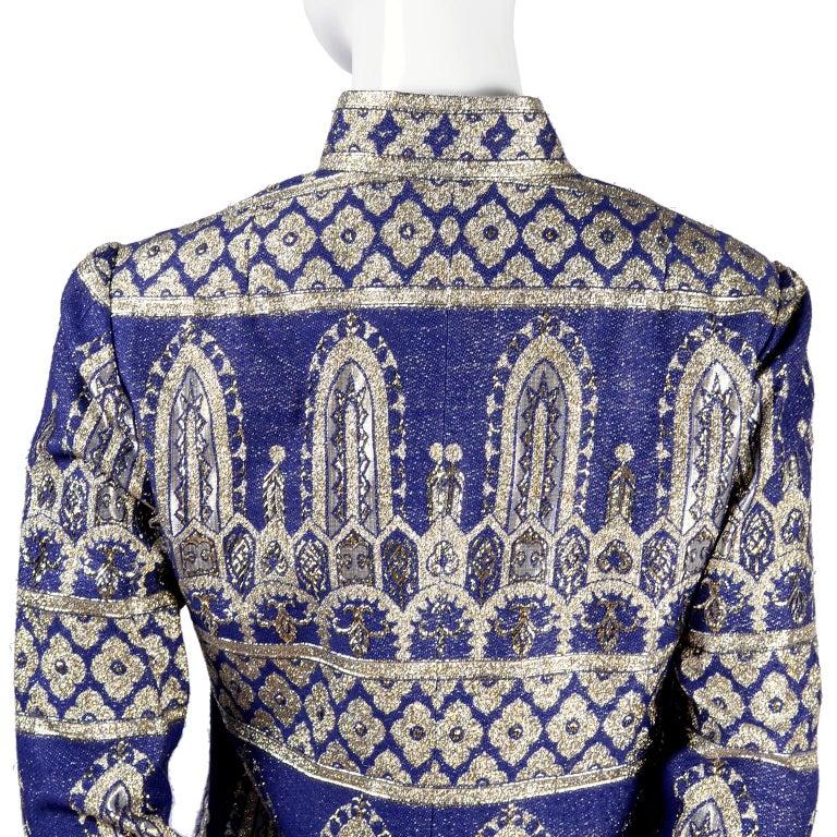Oscar de la Renta Vintage Dress & Jacket in Royal Blue & Silver Metallic Brocade For Sale 3