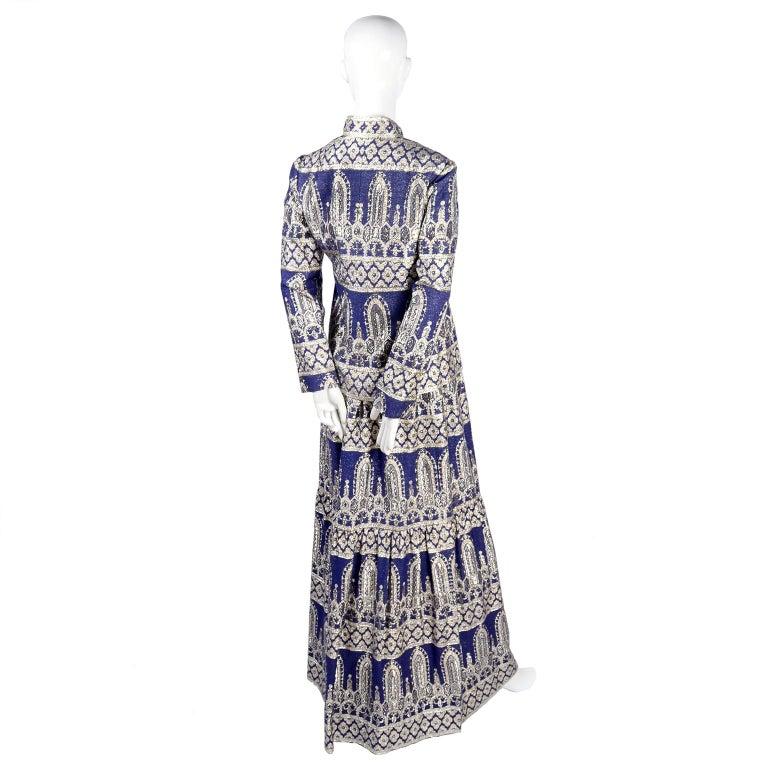 Oscar de la Renta Vintage Dress & Jacket in Royal Blue & Silver Metallic Brocade For Sale 7
