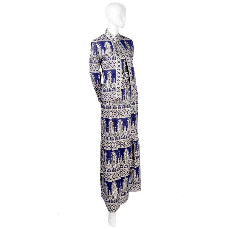 Oscar de la Renta Vintage Dress & Jacket in Royal Blue & Silver Metallic Brocade For Sale 10