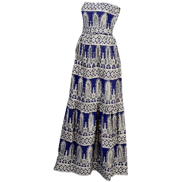 Oscar de la Renta Vintage Dress & Jacket in Royal Blue & Silver Metallic Brocade For Sale 11