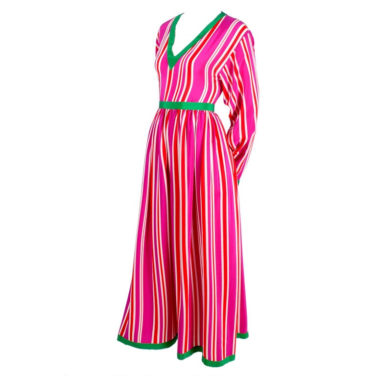 Oscar de la Renta 2 Piece Silk Dress Pink Red and White Stripes W ...