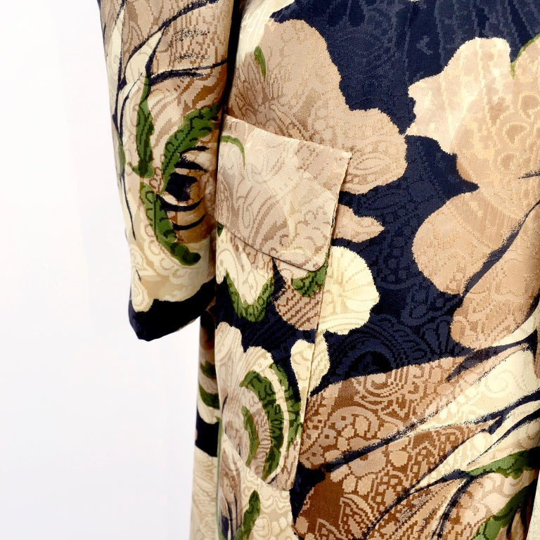 Women's Bill Blass Floral Silk Coat and Pants and Black Wool Top and Scarf, 1970s For Sale