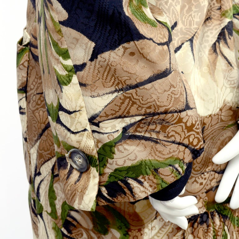 Bill Blass Floral Silk Coat and Pants and Black Wool Top and Scarf, 1970s For Sale 1