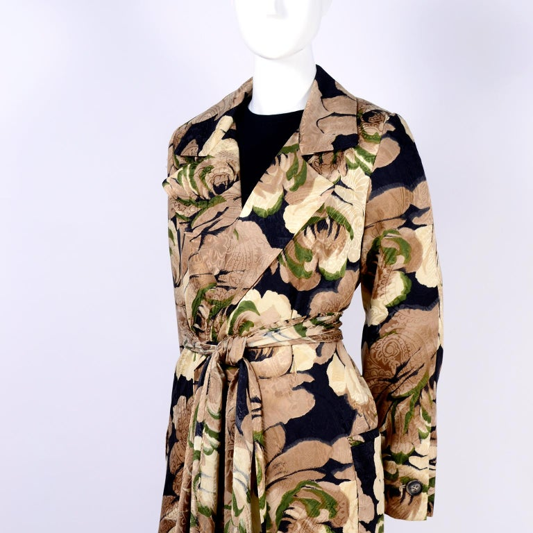 Bill Blass Floral Silk Coat and Pants and Black Wool Top and Scarf, 1970s For Sale 4