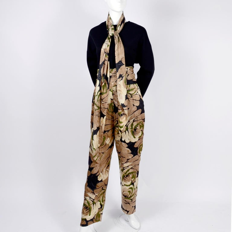 Bill Blass Floral Silk Coat and Pants and Black Wool Top and Scarf, 1970s For Sale 6
