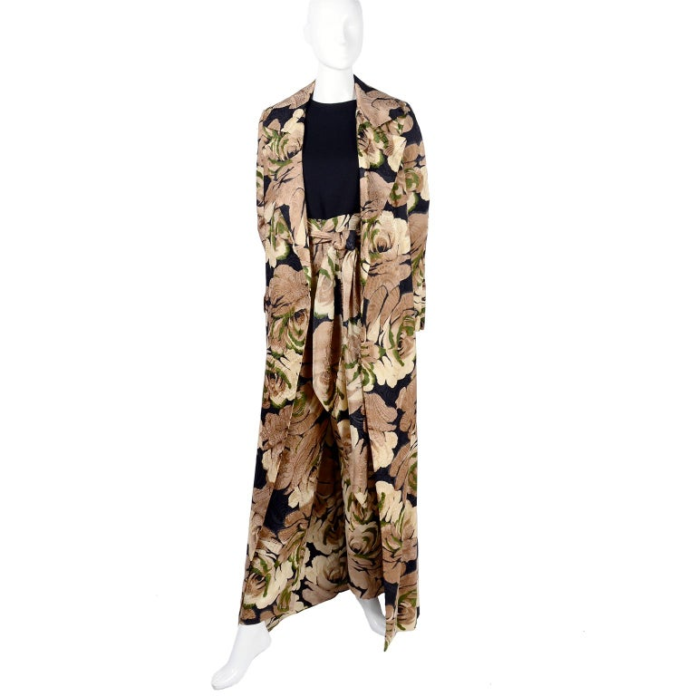 Beige Bill Blass Floral Silk Coat and Pants and Black Wool Top and Scarf, 1970s For Sale