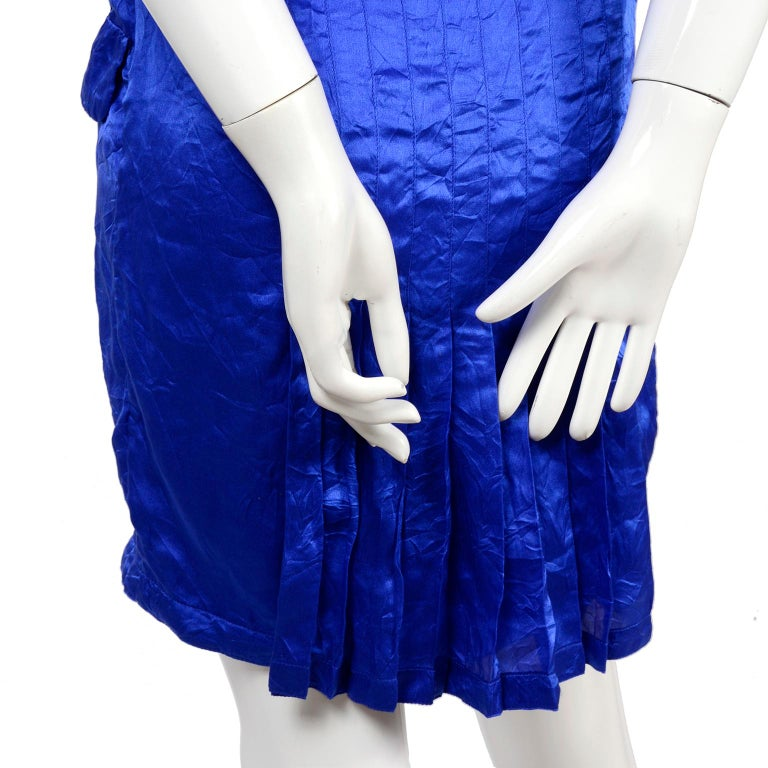 Gianni Versace Couture Blue Silk Documented Runway Dress, 1994  For Sale 3