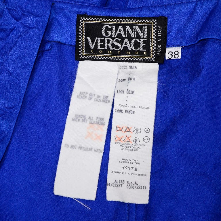 Gianni Versace Couture Blue Silk Documented Runway Dress, 1994  For Sale 6