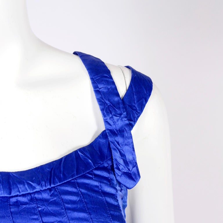 Women's Gianni Versace Couture Blue Silk Documented Runway Dress, 1994  For Sale