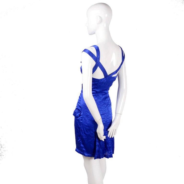 Gianni Versace Couture Blue Silk Documented Runway Dress, 1994  For Sale 1