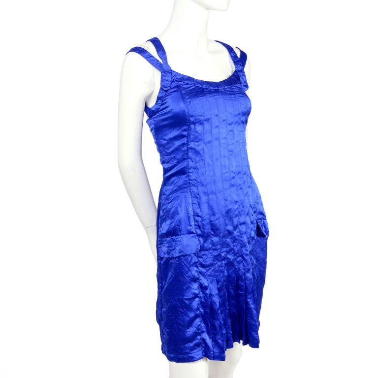 Gianni Versace Couture Blue Silk Documented Runway Dress, 1994  For Sale 7