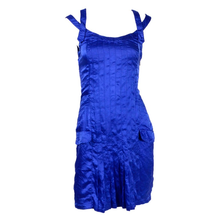 Gianni Versace Couture Blue Silk Documented Runway Dress, 1994  For Sale