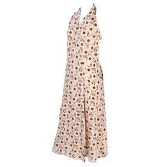 Silk Albert Nipon Boutique Vintage Brown and Cream Halter Dress With Jacket