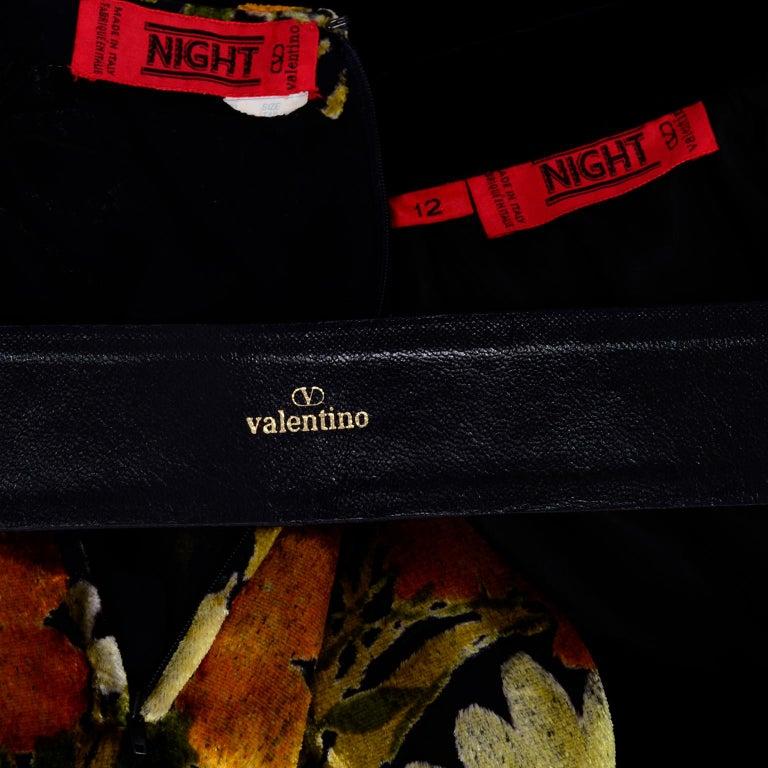 Valentino Vintage 2 Piece Dress Yellow Burn Out Velvet Top & Black Velvet Skirt For Sale 7