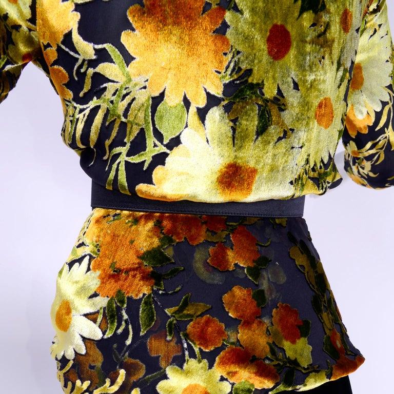 Valentino Vintage 2 Piece Dress Yellow Burn Out Velvet Top & Black Velvet Skirt For Sale 5