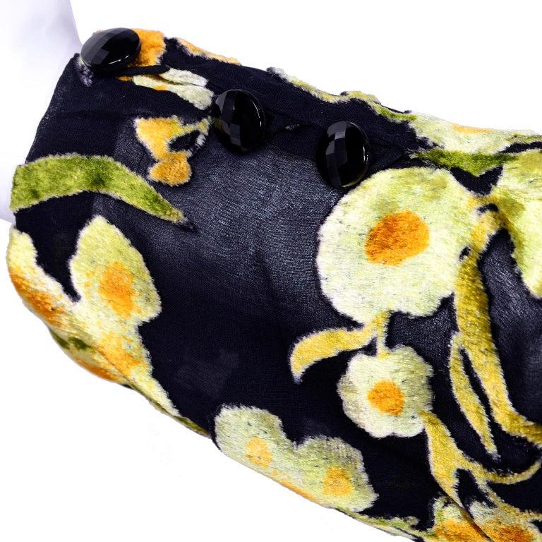 Women's Valentino Vintage 2 Piece Dress Yellow Burn Out Velvet Top & Black Velvet Skirt For Sale