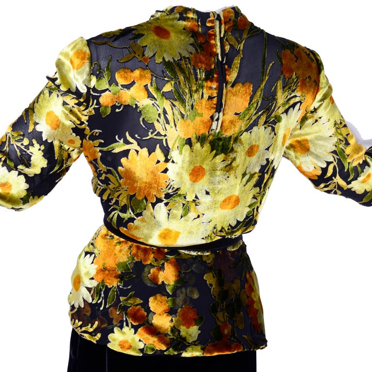 Valentino Vintage 2 Piece Dress Yellow Burn Out Velvet Top & Black Velvet Skirt For Sale 1