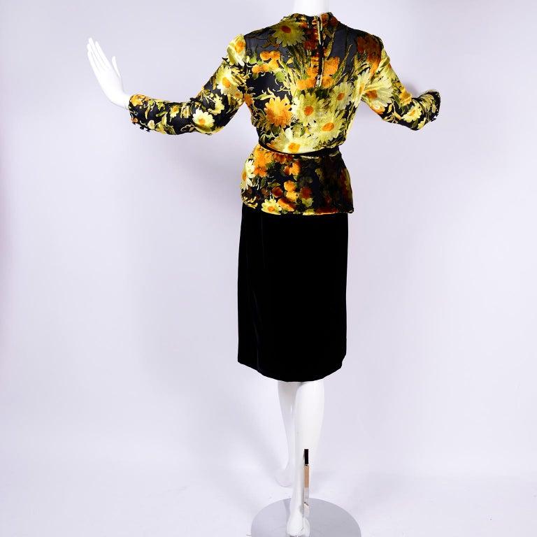 Valentino Vintage 2 Piece Dress Yellow Burn Out Velvet Top & Black Velvet Skirt For Sale 2