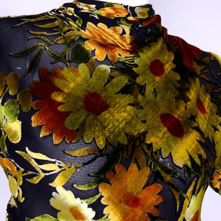 Valentino Vintage 2 Piece Dress Yellow Burn Out Velvet Top & Black Velvet Skirt For Sale 3