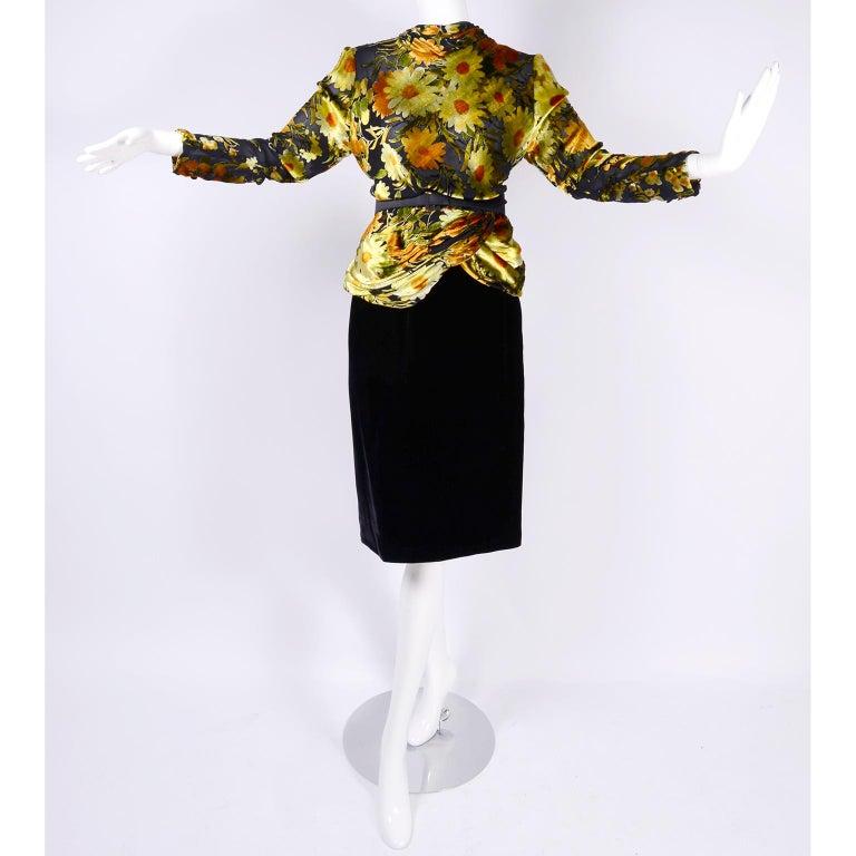 Valentino Vintage 2 Piece Dress Yellow Burn Out Velvet Top & Black Velvet Skirt For Sale 6