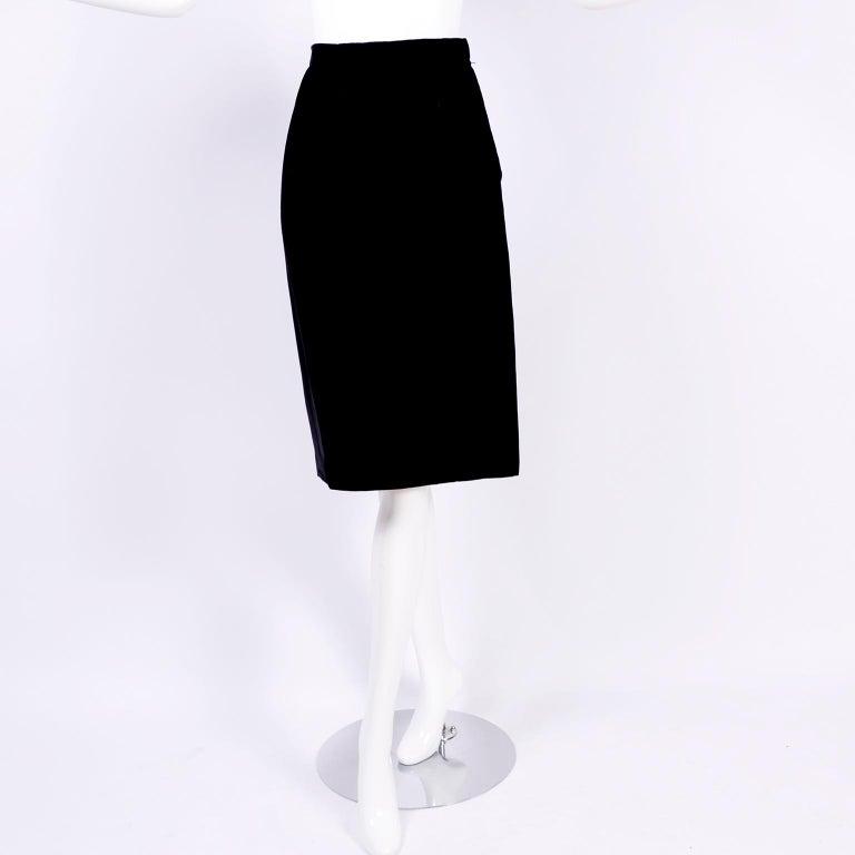 Valentino Vintage 2 Piece Dress Yellow Burn Out Velvet Top & Black Velvet Skirt For Sale 4