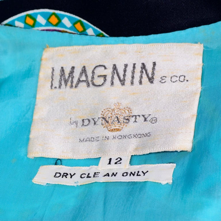 Dynasty for I Magnin Vintage 1970s Dress in Cotton Print  With Turquoise Lining For Sale 4
