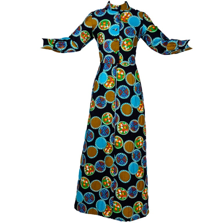 Dynasty for I Magnin Vintage 1970s Dress in Cotton Print  With Turquoise Lining For Sale