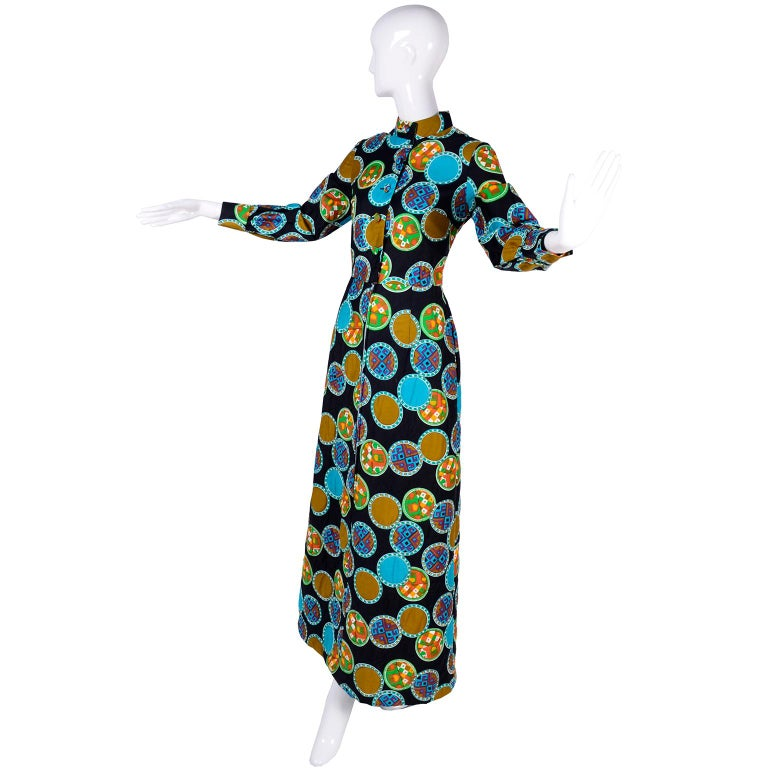 Black Dynasty for I Magnin Vintage 1970s Dress in Cotton Print  With Turquoise Lining For Sale