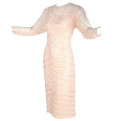 Vintage Blush Pink Silk Dress w/ Sequins & Beaded With Bugle Beads & Pearls