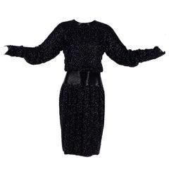 1980s Stephen Yearick Black Dress Heavily Beaded Silk With Open Back Drape