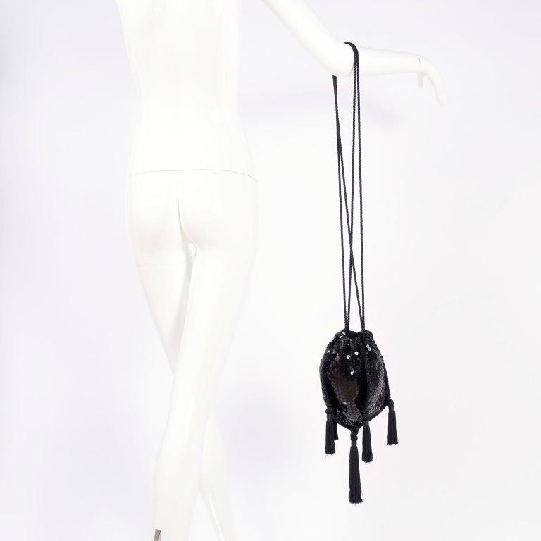 Women's Loris Azzaro Black Handbag Vintage Evening Bag W/ Black Sequins & Fringe Tassels For Sale