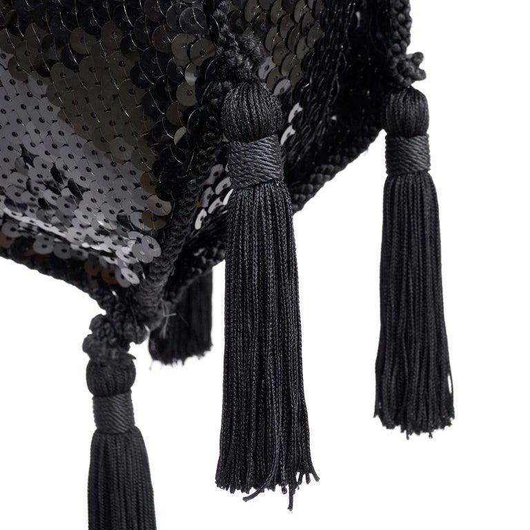 Loris Azzaro Black Handbag Vintage Evening Bag W/ Black Sequins & Fringe Tassels For Sale 1