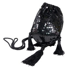 Loris Azzaro Black Handbag Vintage Evening Bag W/ Black Sequins & Fringe Tassels