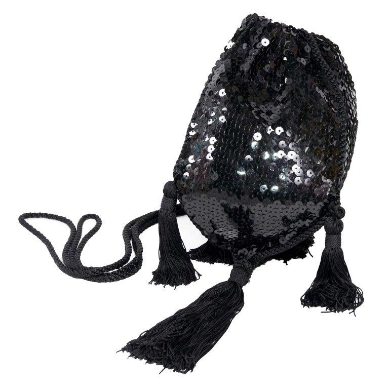 Loris Azzaro Black Handbag Vintage Evening Bag W/ Black Sequins & Fringe Tassels