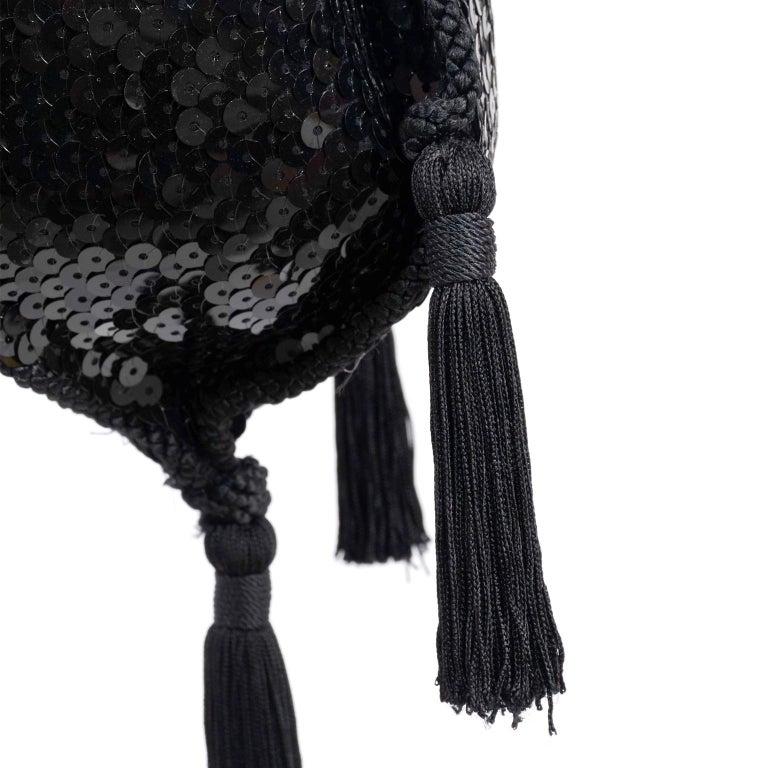 Loris Azzaro Black Handbag Vintage Evening Bag W/ Black Sequins & Fringe Tassels For Sale 2