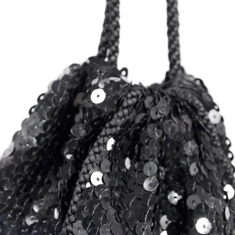Loris Azzaro Black Handbag Vintage Evening Bag W/ Black Sequins & Fringe Tassels For Sale 4