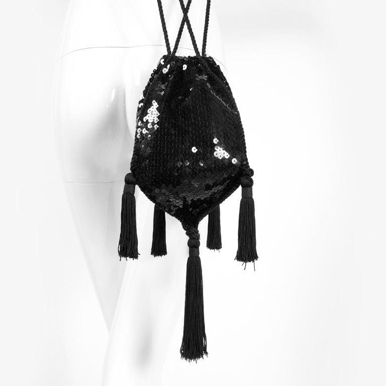 Loris Azzaro Black Handbag Vintage Evening Bag W/ Black Sequins & Fringe Tassels For Sale 5